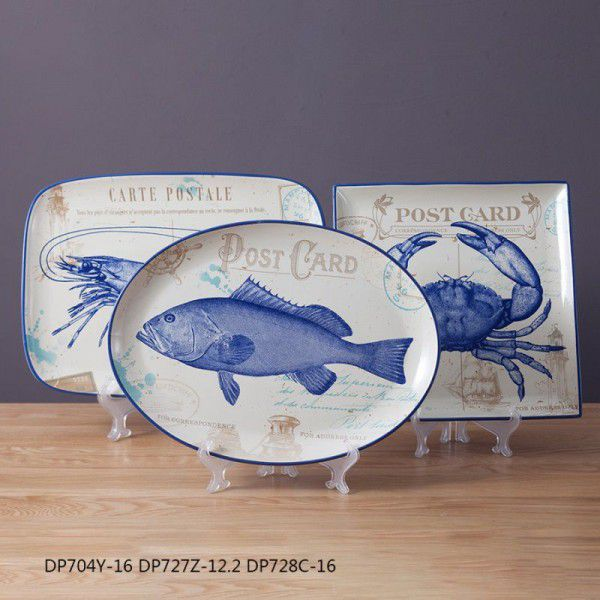 Chinese style creative household porcelain decorative plate